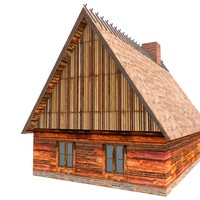 3d model wood straw roof house
