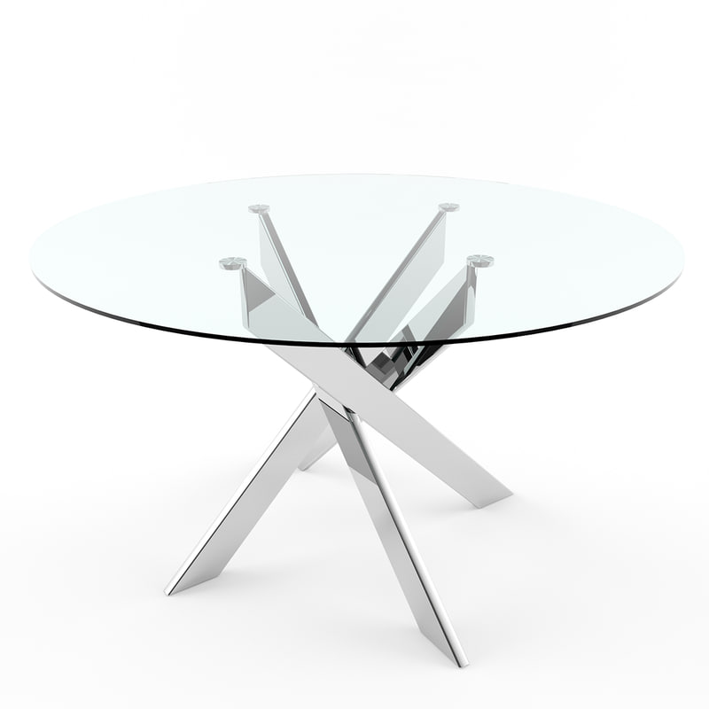 dusty dining table glass 3d model