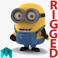 3d model short eyed minion rigged