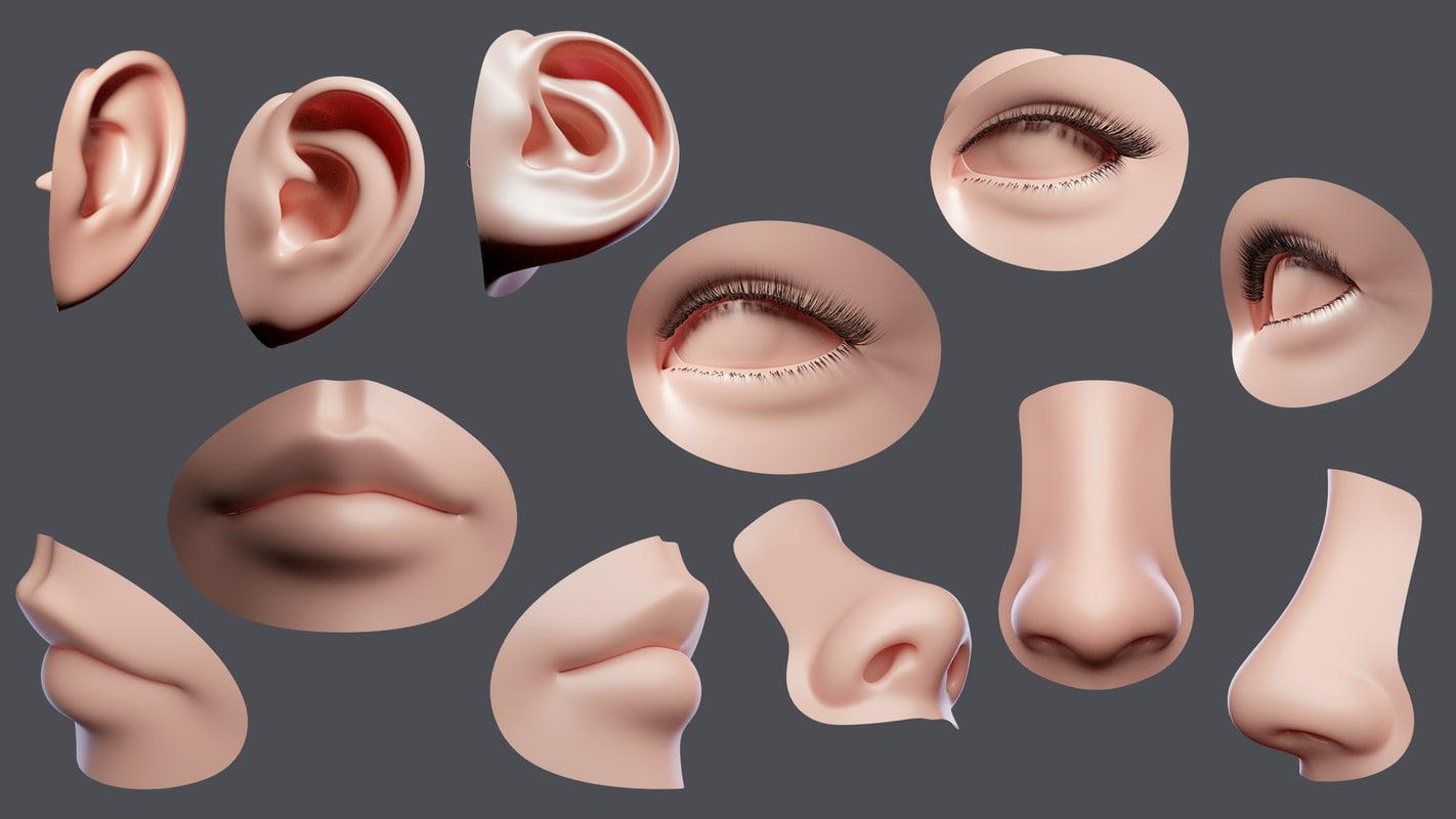 facial element 3d obj