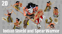 2D Indian Shield and Spear Warrior