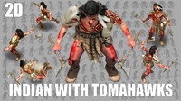 2D Indian Warrior with Two Tomahawks