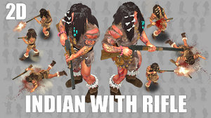 2D Indian With Rifle