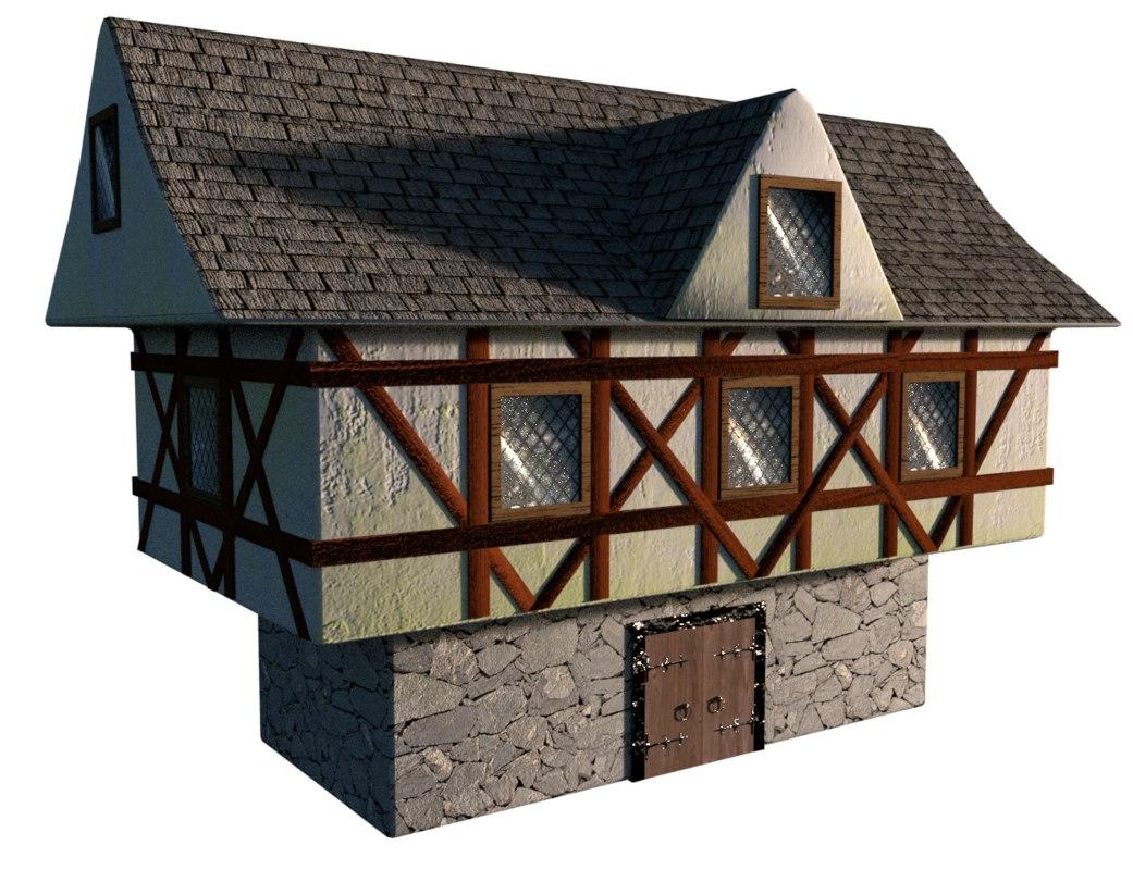 medieval house 3d 3ds