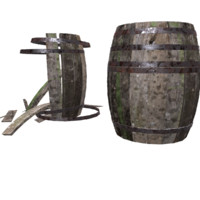 wooden barrel set 3d model