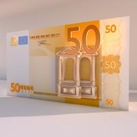 3d model 50 euro money