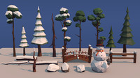 3d model winter trees