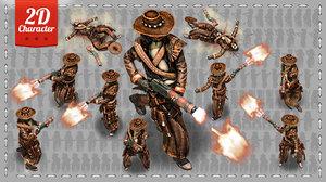 2D Cowboy with Shotgun