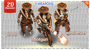 2D Cowboy with 3 Weapons Pack