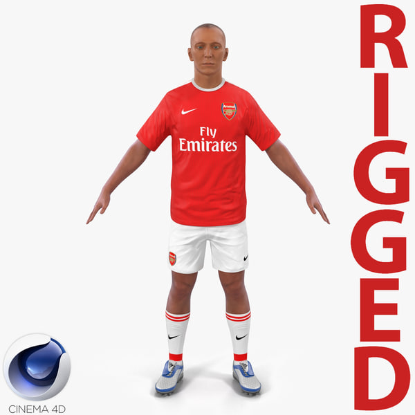 3d soccer player arsenal rigged