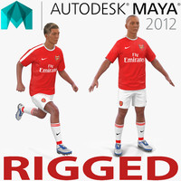 soccer player arsenal rigged 3d model