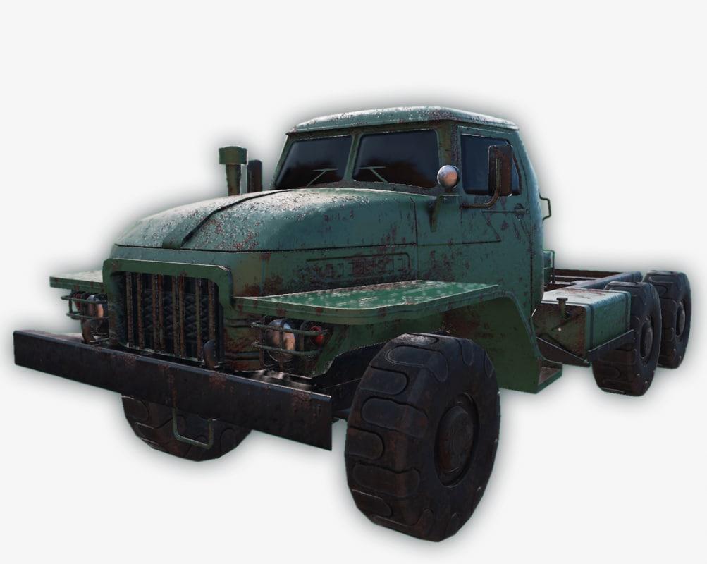 3d model low-poly ural-375