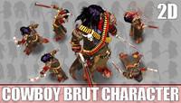 2D Cowboy Brut Character