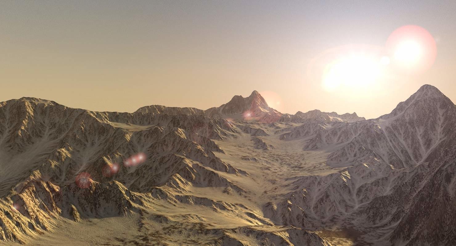 mountain range landscape terrain 3d model