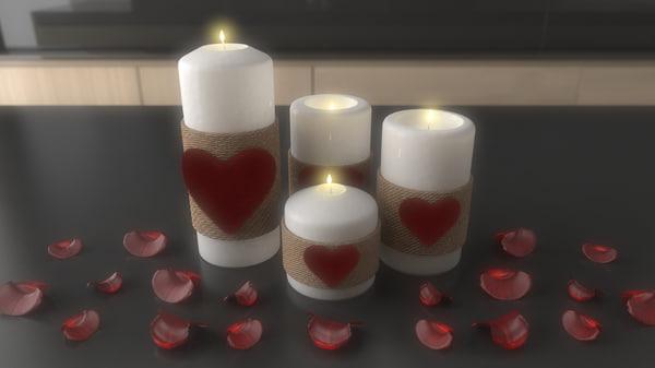 saint valentine candle 3d max