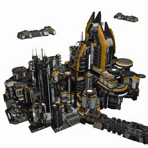 - sci fi city 3d model