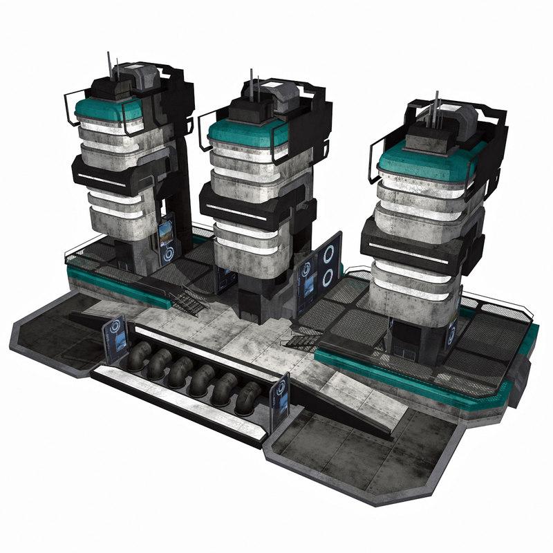 3d - sci-fi city building