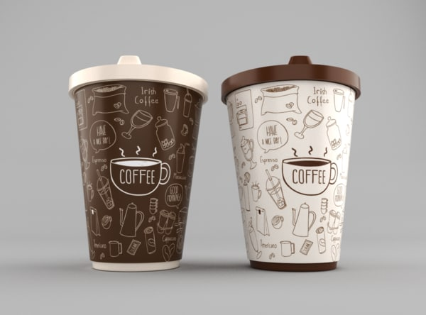 3d model of coffee cups