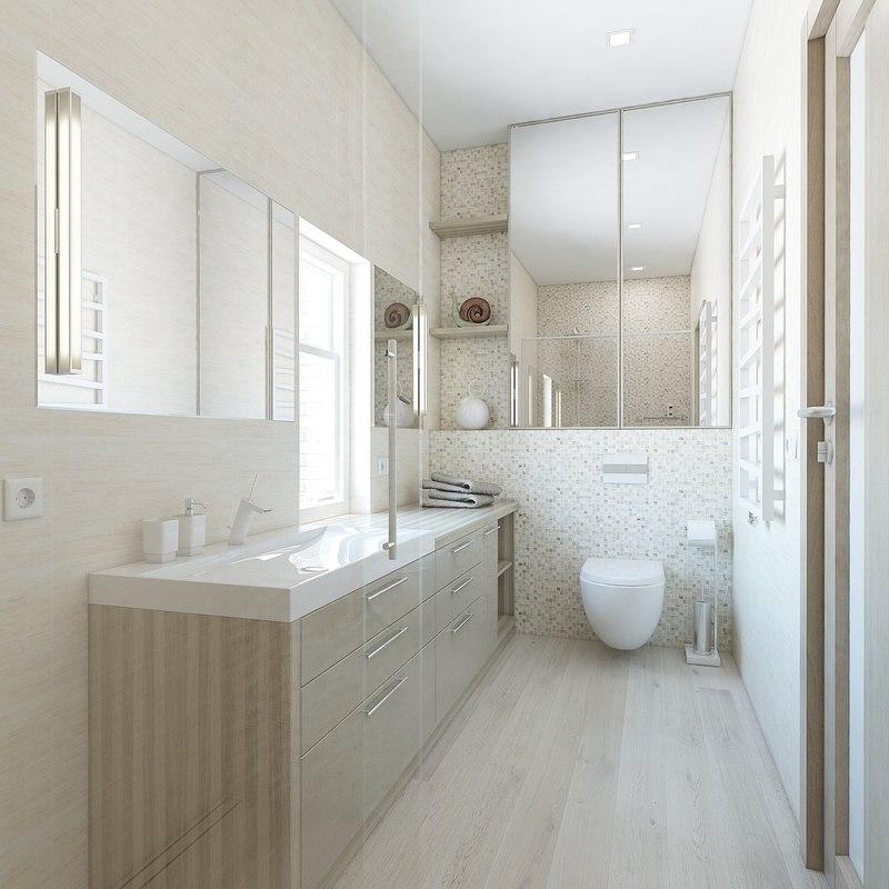 3d amazing bathroom bright tiled model