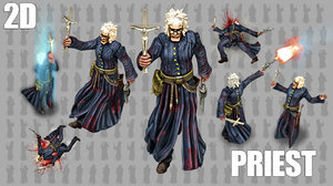2D Priest Animated Character