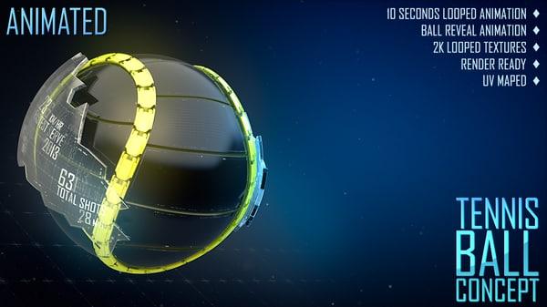3d model tennis ball concept