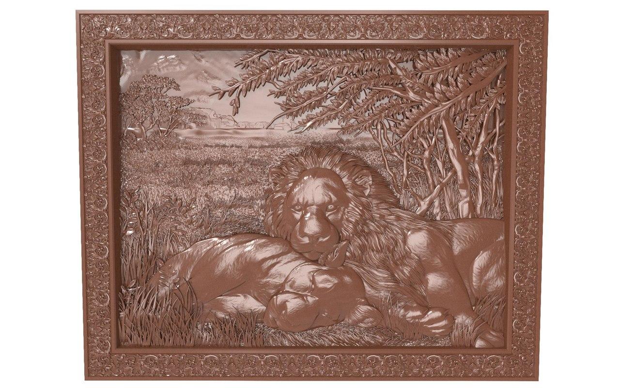 3d bas relief lions rest model