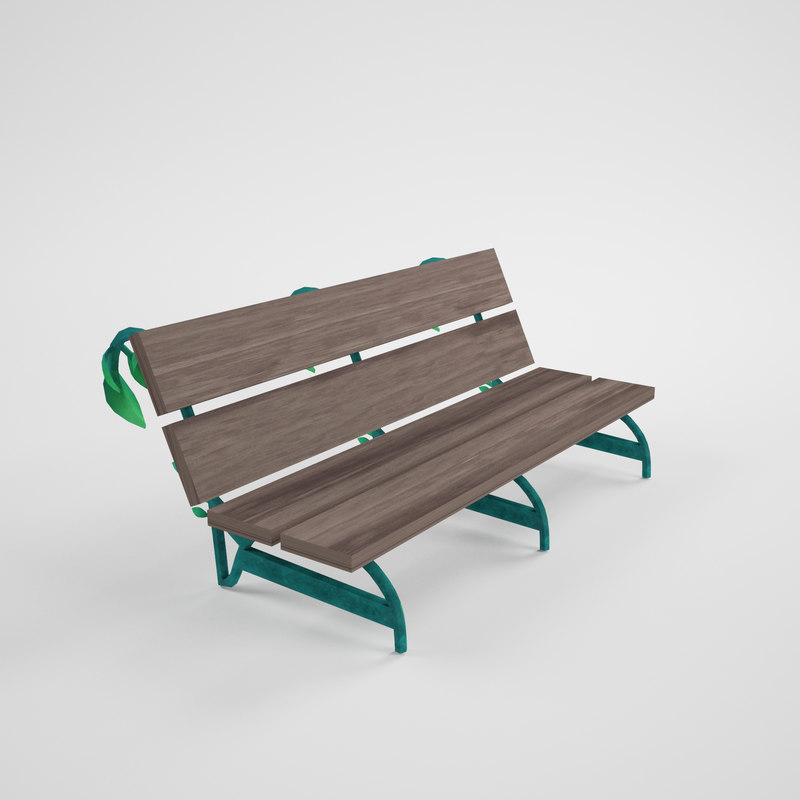 cartoon bench 3d model