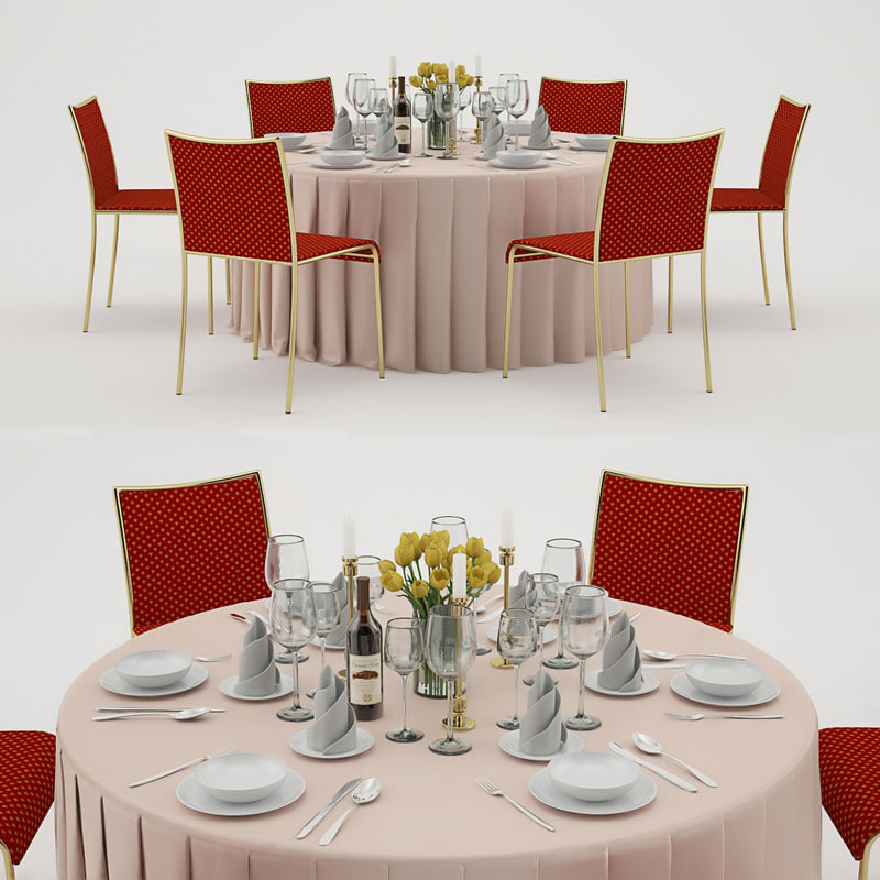banquet table 6 3d model