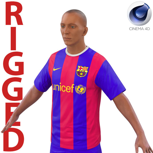 3d model soccer player barcelona rigged