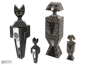 wooden dolls cats dogs 3d model