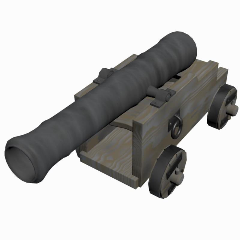cannon 10 lb gun 3d max