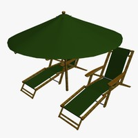3d fbx beach chairs umbrella