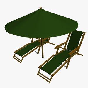 3d fbx beach chairs umbrella
