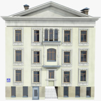 3d model of vintage house street