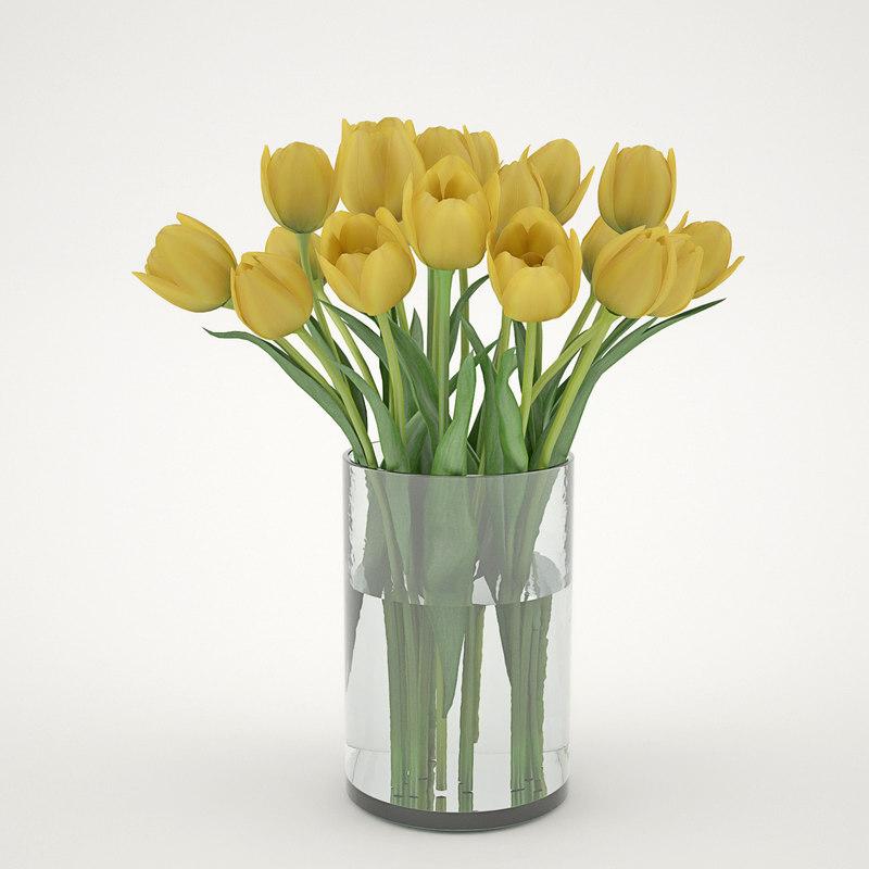 3d yellew tulips model
