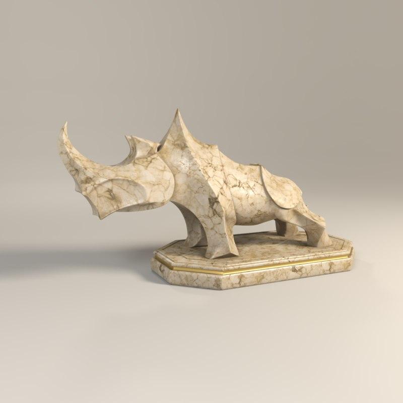 rhinoceros rhino statue 3d model