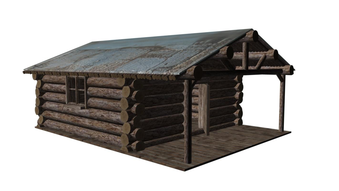 3d model of log cabin