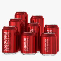 3d standard beverage cans model
