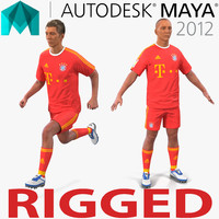 3d soccer player bayern rigged