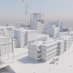 buildings street 3d max