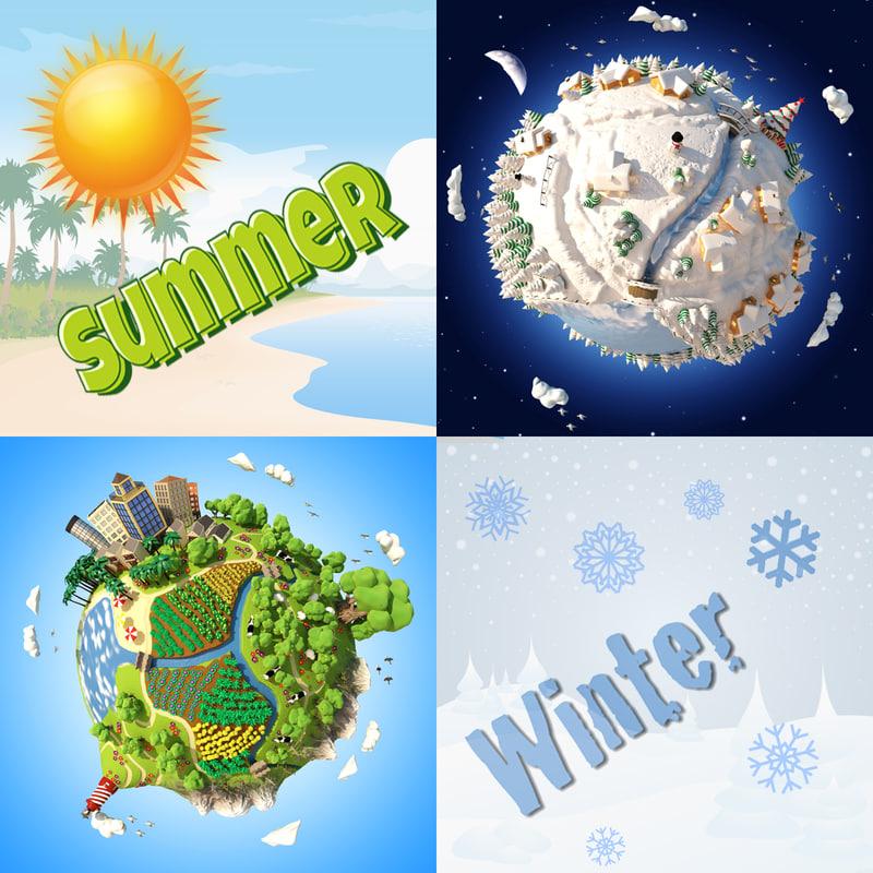 3d cartoon planets model