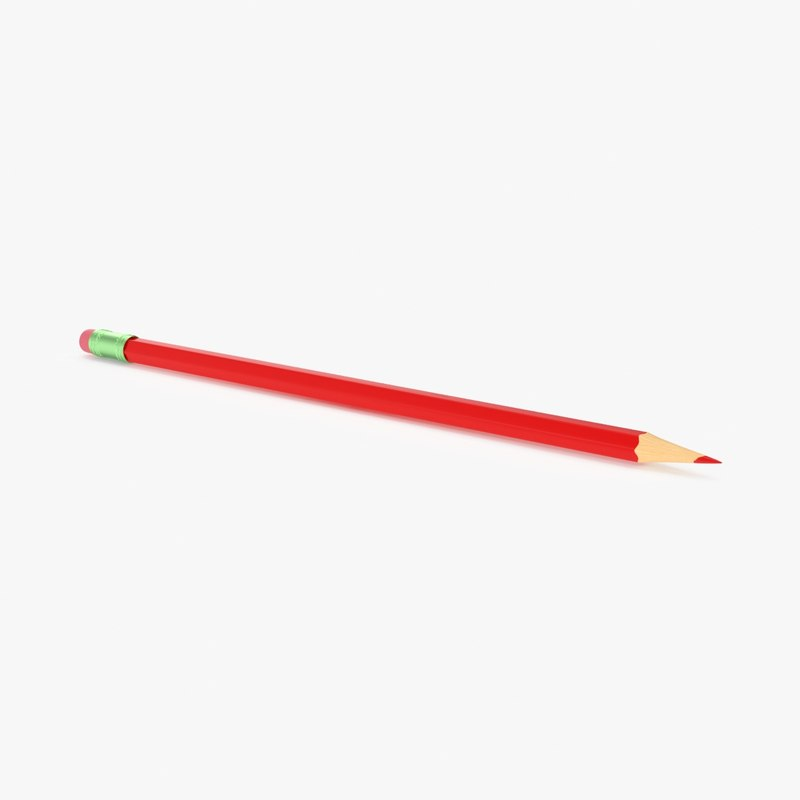 3d red marking pencil model
