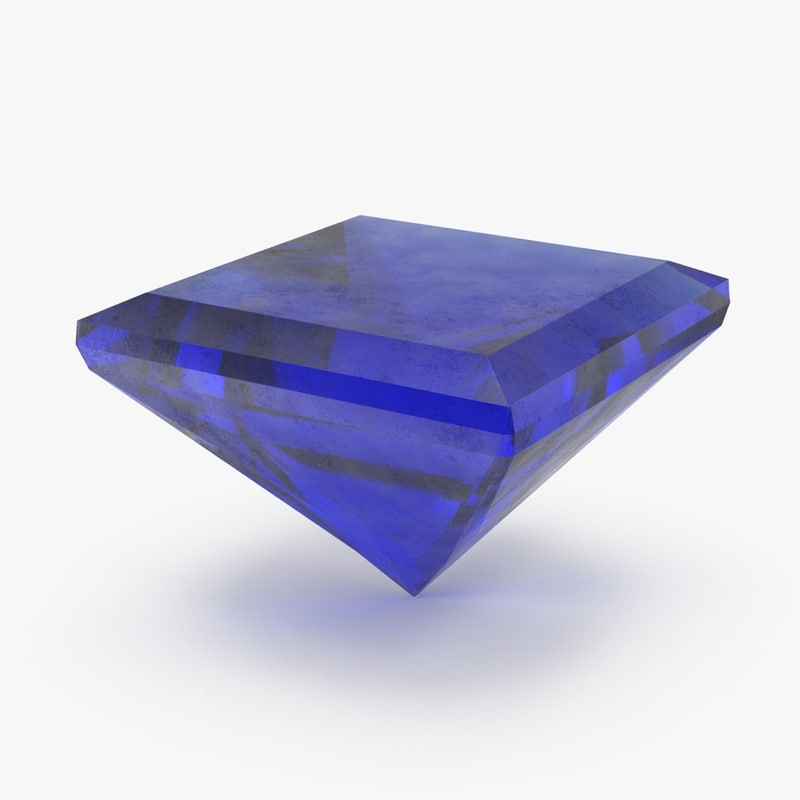 3d model of square sapphire