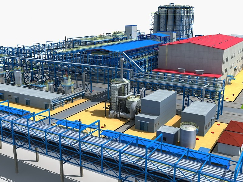 chemical factory 3d max