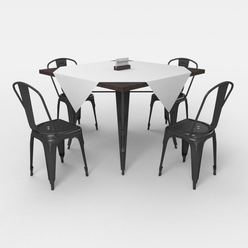 cafe table chair 3d obj