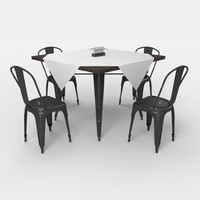 cafe table chair 3d obj