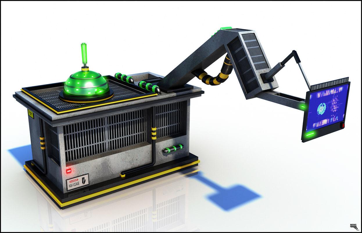 sci-fi machine panel 3d model
