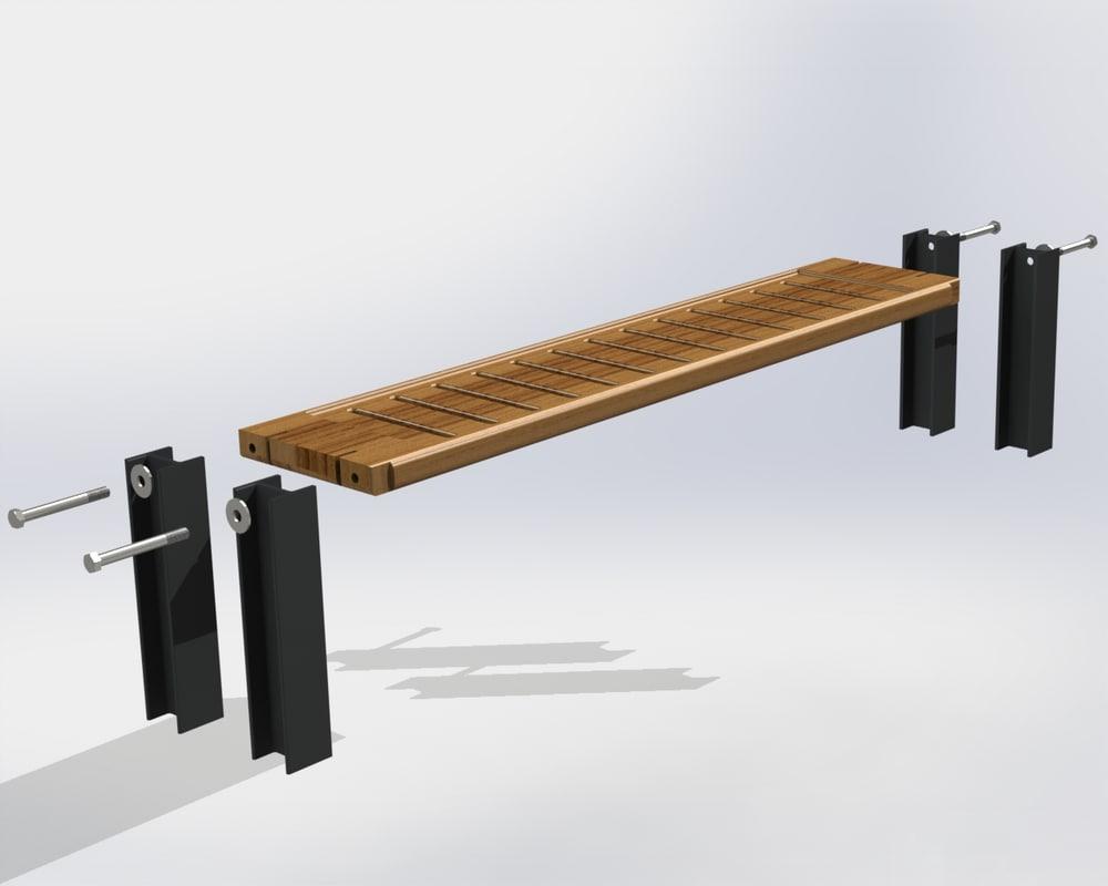 bench steel beams domon 3d 3ds