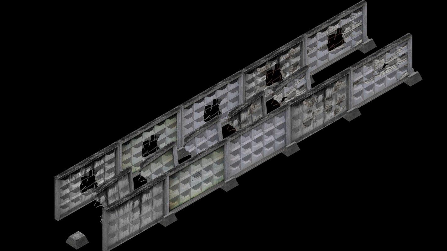 3d concrete fence model