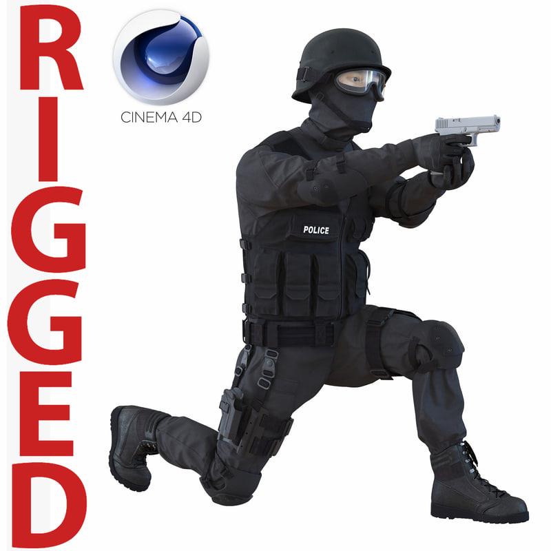 swat man asian rigged 3d c4d